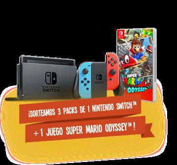 ¡¡¡Sorteamos 3 packs de 1 Nintendo Switch + 1 Juego Super Mario Odissey!!!